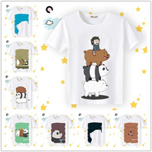 Naked Bear Anime Peripheral Clothes We Bare Bears Short Sleeve T-Shirt Men and Women Half Sleeves Co