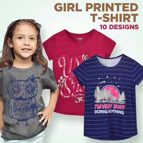 Girls Junior Short Sleeve T-Shirts With Print Deals for only Rp39.000 instead of Rp59.091