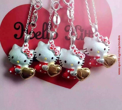 b197c569a tv Fashion hello kitty pendant necklace S925 Silver chain cute heart  pendant necklaces for Women jew