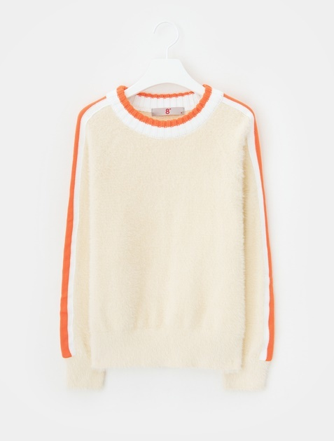 8SECONDS Sleeve Contrast Point Round Neck Knit - Ivory