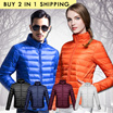 BUY 2 IN 1 SHIPPING/ NO OPTION PRICE -2016 new winter men and women slim down jacket collar Slim large size casual short jacket lovers