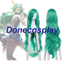 League of Legends LOL Soraka Star Guardian 40Long Wavy Green Cosplay Full Wigs
