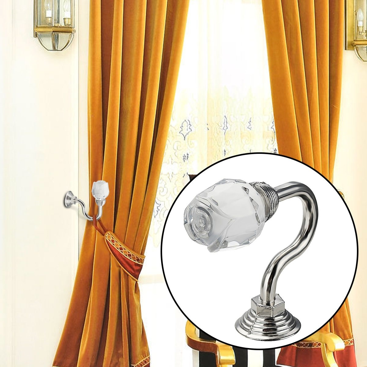 2pcs Round Silver Glass Crystal Curtain Tie Back Wall Hooks Wall Mounted Hanger Holder