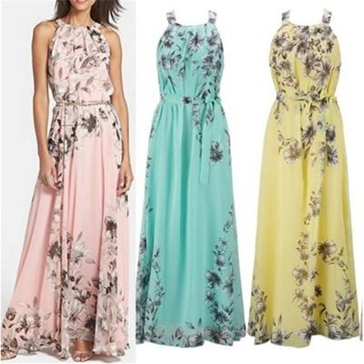 0a1ce16afe Summer Women Boho Style Floral Print Sexy Chiffon Maxi Dress Sleeveless  Casual Beachwear Halter Dres