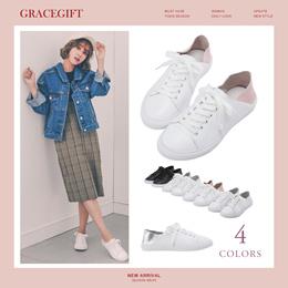 Gracegift-Classic 2 Ways Leather Contrast Color Sneakers/Women/Ladies/Girls