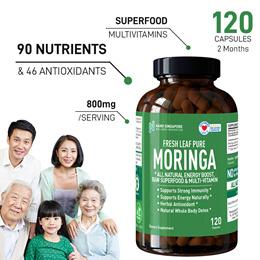 Fresh Leaf 100% PURE MORINGA [120 caps 2 Mths] 🔥 All Natural 🔥 Energy Boost 🔥 Superfood 🔥Vitamin