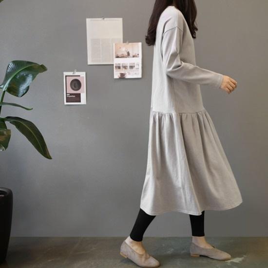 ガールズデイリーオーウェンフリルロングワンピース 綿ワンピース/ 韓国ファッション