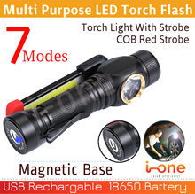 Portable 7 Mode COB Flashlight Torch USB Rechargeable LED Work Light Magnetic COB Strobe E Bicycle