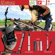 [AIRACE]CNC Aluminium Bicycle Premium Hand Pump. High volume pressure Micro pump. 2 in 1 Co2 .