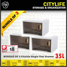 BUNDLE of 3 * Citylife Single Tier Drawer 35L * $8 Voucher Claim with Min. $40 Spending
