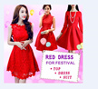 【2/12NEW ARRIVALS】Festive Dress/Chinese New Year Dress/Work OL Dress/Casual Red Dress ★ Buy 4 FREE SHIPPING ★★