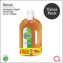 [RB Health] Dettol Antiseptic Liquid 1L Twin Pack + 750ml