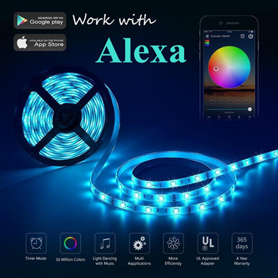 Alexa Smart Home WIFI Controller 5M RGB LED Strip,App Control No  Waterproof/Waterproof Light LED for