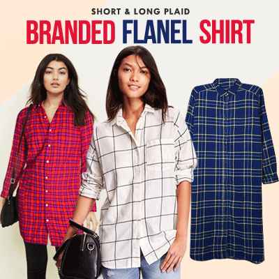 New Collection Branded Women Short and Long Plaid Shirt / 4 Style / Good Quality Deals for only Rp55.000 instead of Rp55.000