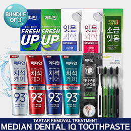 💙Apply 10% Shop Coupon! [MEDIAN] Bundle of 3! Best Toothpaste 14types / Tartar Removal /  Fresh Up / Dental White / Double Action