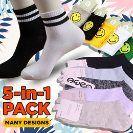 [Super Bundle] 5 in 1 Anti Odour Unisex socks for sport outdoor Ankle Socks | Invisible Socks | Many Design | Limited offer