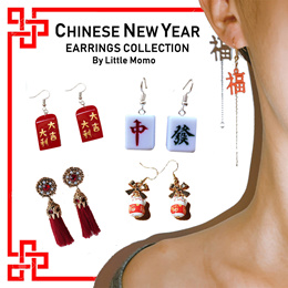 LITTLE MOMO  CHINESE NEW YEAR EARRINGS  FOR THE FUN AND QUIRKY