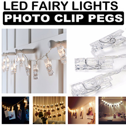 LED Fairy Light Photo Clip Pegs Battery operated for Decoration Proposal party Hang photos