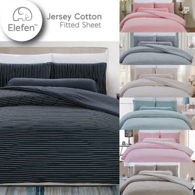 Exceptional Elefen Jersey Cotton Series Fitted Sheet Set / Available In ALL Sizes