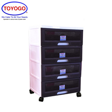 Toyogo Plastic Storage Cabinet / Drawer With Wheels (4 Tier) (609-4)