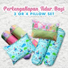 Perlengkapan Tidur Bayi 3 atau 4 Pillow Set dengan 3 Motif Lucu untuk Bayi Anda.Kualitas Bahan Terba