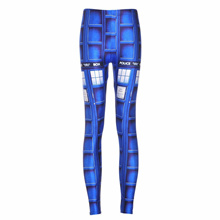 Womens Fashion Blue Tardis Leggings  Solid  Mid  Knitted  Ankle-Length  Thin  Casual