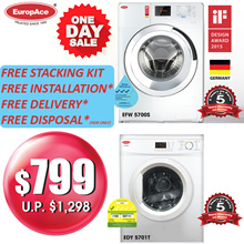 *SAVE $499* EuropAce 7 KG Washer EFW 5700S + 7KG Dryer EDY 5701S - 5 Years Motor Warranty