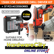 [FREE DELIVERY] Black and Decker 13mm VSR Hammer Drill 710W Drill Driver Kit w/ 37 Pcs Accessories