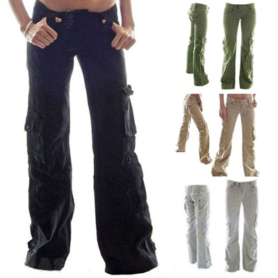 13433a2b336 Plus Size Loose Jeans Cargo Pants Solid Color Straight Women s Trousers  with Pockets Ladies Full