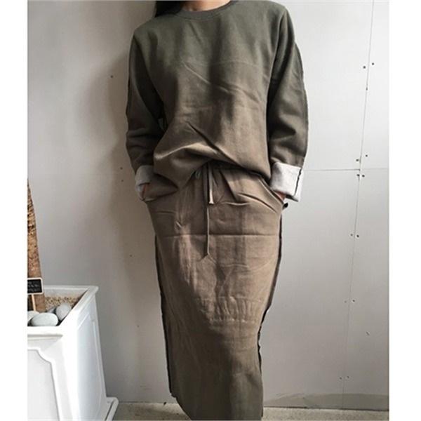 ヤンキモスカート上下セットnew / 体型カバーになる / 秋ワンピース / ニット・ワンピース / 韓国ファッション妊婦服 /