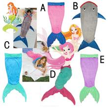 Soft Warm Flannel Mermaid Tail Shark Blanket Sleeping Bags Comfortable Children Patchwork Girls Boys