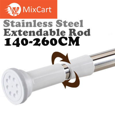 22 25mmPractical Stainless Steel Round Head Extendable Telescopic Tension Shower Curtain Rods