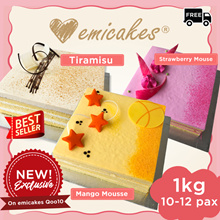 [Emicakes] Exclusive to Qoo10! 1kg 20cm Mousse Cakes! Tiramisu | Strawberry Mousse | Mango Mousse
