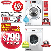 *SAVE $499 + Free Wet and Dry Vacuum(Worth $220)* EuropAce Bundle Deal (7 KG Washer + 7KG Dryer)