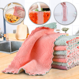 [10pcs] Kitchen Hand Towel Dish Cleaning Coral Fleece Microfiber Cloth Wipes