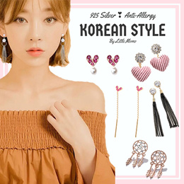 LITTLE MOMO  925 SILVER EARRINGS ANTI-ALLERGY  KOREAN DESIGNS