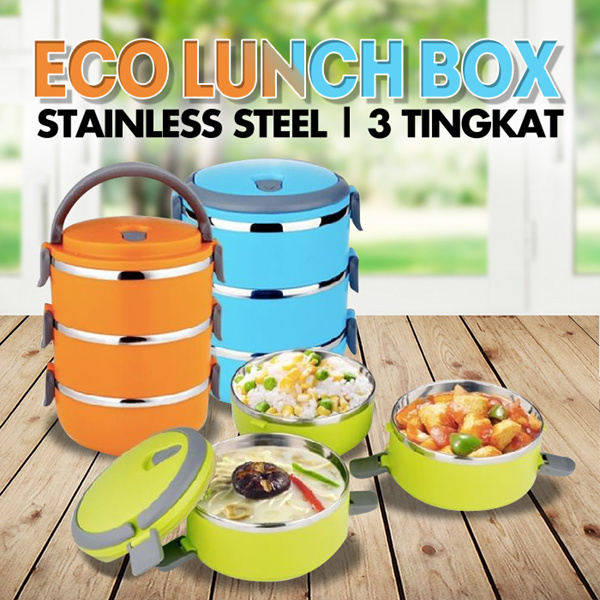 Eco Lunch Box Stainless Steel 1 / 3 / 4 Tingkat Deals for only Rp75.000 instead of Rp75.000