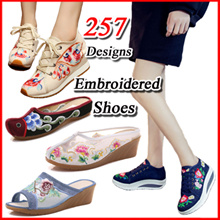 Special Offer/$6.9 / Only one day / Embroidered Shoes Womens Casual Shoes❤Camouflage Canvas Shoes❤ Ethnic Cloth Shoes
