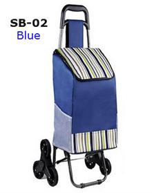 (Car Tyre Wheel) Navy Blue Stylish Shopping Trolley Bag (Upgraded Version) * Portable/Foldable/Light/Durable * 3-Wheel Design/Full Steel * Relax/Convenient/Effortless-Shopping/Market/Grocery/Travel