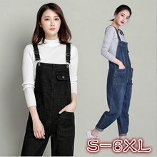 2018 Womens One Piece Long Jeans Jumpsuit Denim Overalls For Women Suspenders Pants Plus Size