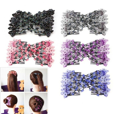 NEW Magic Beads Elasticity Double Hair Comb Clip Stretchy Hair Combs Clips Fashion
