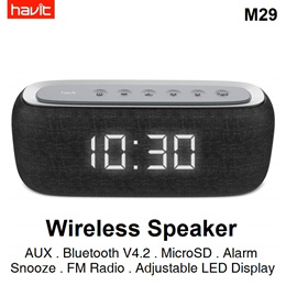 Havit M29 Portable Wireless Bluetooth Speaker Dual Alarm Clock Radio FM LED Display Stereo Home Work