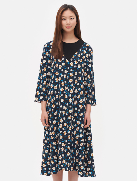8SECONDS Contrast Floral Patterned Dress - Blue