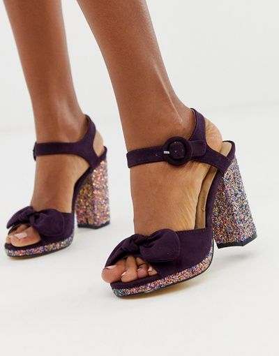 3c368351ade Qoo10 - Oasis block heeled sandals with glitter heel in purple   Shoes