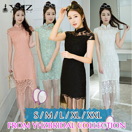 Modern Solid Color Pink Cheongsam Black Summer Lace Dresses Green Daily QiPao Dresses White Dress