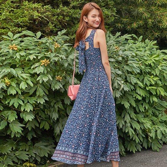 ナインNAINフラワー・パターンマキシのワンピースOP3277 面ワンピース/ 韓国ファッション