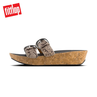 2967190fcf73f1 Qoo10 - Fitflop™ Duo-Buckle Slide- Leather Natural Snake   Shoes