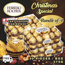 Ferrero Rocher Chocolate T30 Bundle of 4 (30 Pieces/ Box)($48 After $12 Coupon!)Valentines Day Gift!