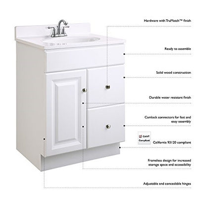 Qoo10 Design House 545053 Wyndham White Semi Gloss Vanity Cabinet
