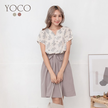 YOCO - Layered-Look V-Neck with Ribbon-Tie Dress-190436